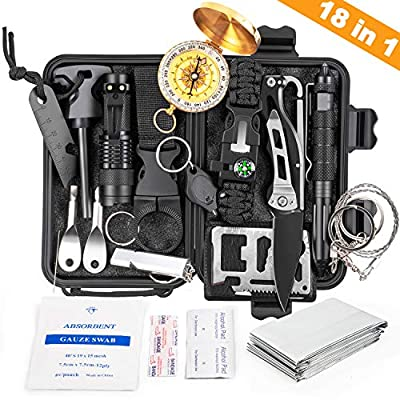 KOSIN Survival Gear, 18 in 1 Emergency Survival Kit, Professional Tactical Defense Equitment Tool with Knife Blanket Bracelets Backpack Temperature Compass Fire Starter for Adventure Outdoors Sport from KOSIN