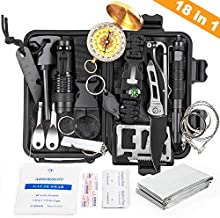 KOSIN Survival Gear, 18 in 1 Emergency Survival Kit, Professional Tactical Defense Equitment Tool with Knife Blanket Bracelets Backpack Temperature Compass Fire Starter for Adventure Outdoors Sport