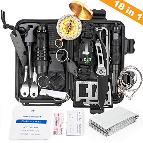 KOSIN Survival Gear, 18 in 1 Emergency Survival Kit, Professional Tactical Defense...
