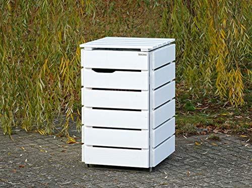 1er Mülltonnenbox / Mülltonnenverkleidung 120 L Holz, Grau Geölt - 3