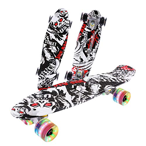 Caroma Skateboards für Kinder Jungen und Mädchen 22 Zoll 55cm Vintage Skateboard für Anfänger Junge Erwachsene komplette Mini Cruiser Skateboard mit LED Licht Räder