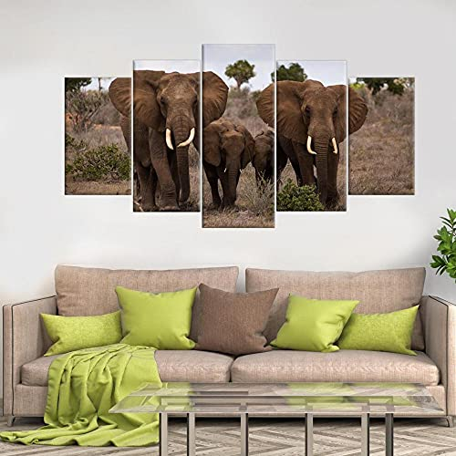GSDFSD Animals Еlephants Modern 5 Piece Hand Painted,Prints On Canvas The Landscape Pictures Oil For Home Modern Decoration Print Decor For Living Room (Frameless)