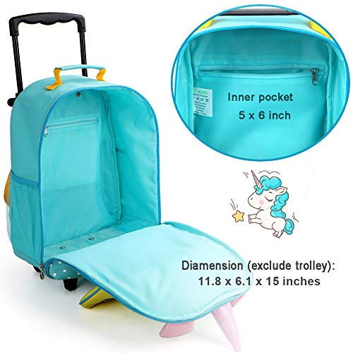Yodo 3-Way Toddler Backpack with Wheels Little Kids Rolling Suitcase Luggage, Unicorn