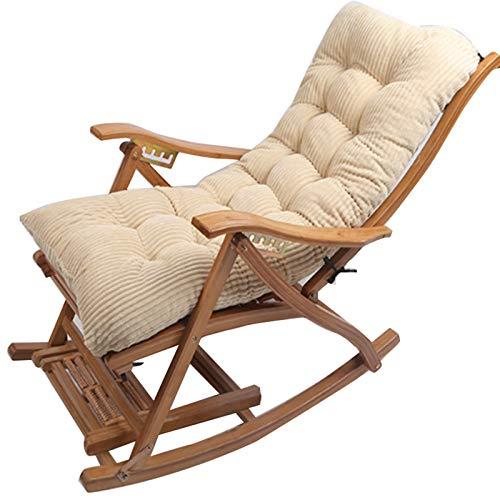Garden Patio Sun Lounger Kissenpolster, Thicken Schaukelstuhl Sitzkissen, Cord Atmungsaktive Ersatzliege Kissen, Kaffee 120x48cm (KEIN Stuhl)