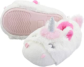VLLY Girls/Kids Cute Unicorn Slippers with Warm Plush Fleece House Slip-on Shoes
