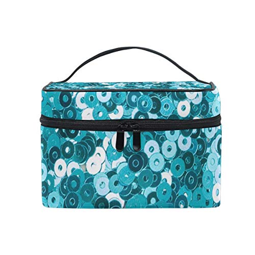 Turquoise Sequin Glitter Printing Cosmetic Bag Portable Grand Trousse de Toilette pour Femmes/Filles Voyage Maquillage Sac