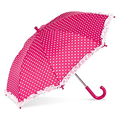 ShedRain Kids' Printed Stick Umbrella: Pink Polka Dots