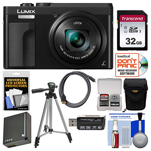 Price comparison product image Panasonic Lumix DC-ZS70 4K Wi-Fi Digital Camera (Black) with 32GB Card + Case + Battery + Tripod + Kit