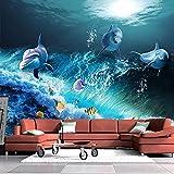 Papel pintado impermeable 3D mundo submarino delfín foto mural habitación de los niños decoración del acuario pegatina 3D 350x250cm