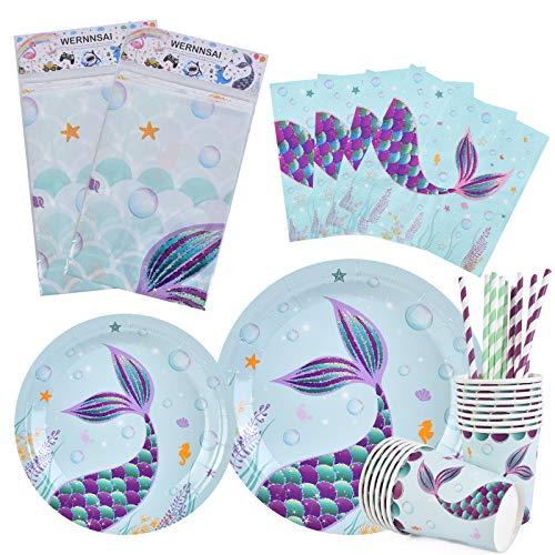WERNNSAI Vajilla Sirena Fiesta - Suministros para la Fiesta para Chicas Cumpleaños Baby Shower Servilletas Mantel Platos Copas Pajitas Sirve a 16 Invitados 82 Piezas