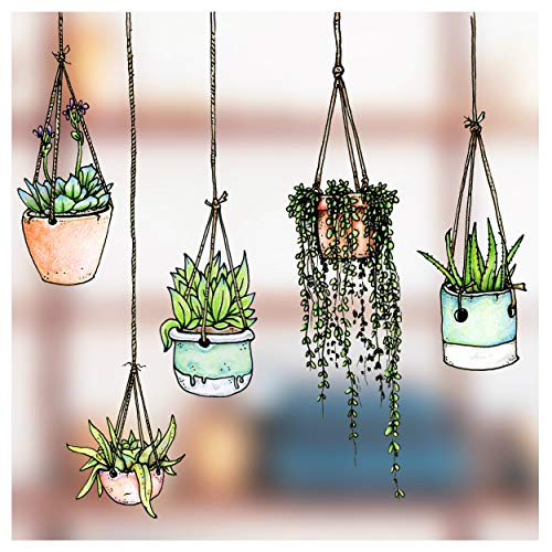 Stickers4 - 5 Illustrated Hanging Plant Window Stickers - Hanging Flower Pot Window Clings Stickers - Double Sided Greenhouse Decals - No adhesive