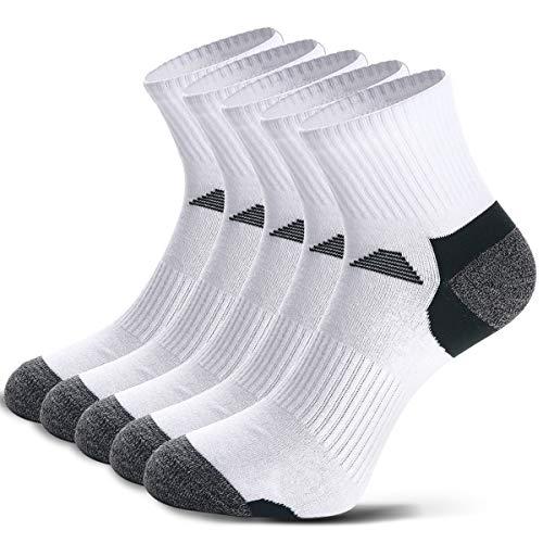 5 Paar Laufsocken Sportsocken Funktionssocken für Herren Damen Münner Dünn Kompression Unterstützend und Klimatisiert Atmungsaktiv (43-46, Weiß - 5 Paare)