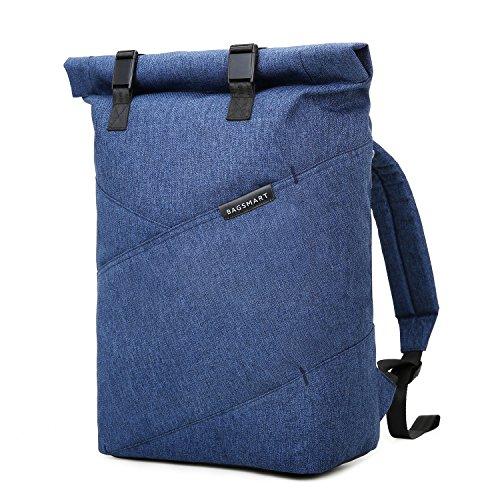bagsmart Herren Damen Roll-Top Rucksack Laptop 15,6 Zoll Blau