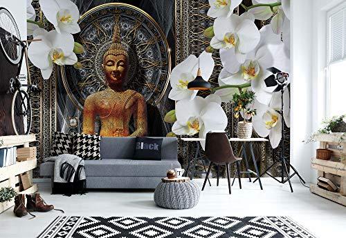 Buddha Zen Blumen Orchideen Mandala - Wallsticker Warehouse - Fototapete - Tapete - Fotomural - Mural Wandbild - (3162WM) - XXL - 312cm x 219cm - VLIES (EasyInstall) - 3 Pieces