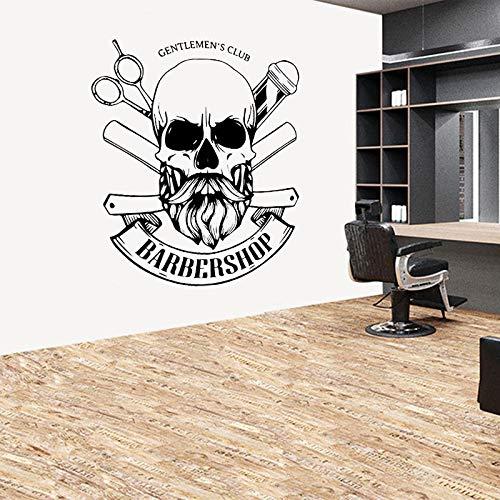 Club de caballeros barbería pegatina de pared barbería letrero emblema calcomanías de barba decoración interior murales autoadhesivos A8 57x62cm
