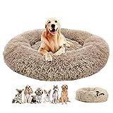 Haoye Cama Felpa Mascotas, Redonda Sofa Suave Animales Domésticos Invierno Cómoda y Lavable para Mascotas - Beige Ø 120cm