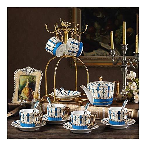 FGDSA European Ceramic Coffee Set, British Afternoon Tea Cup, Black Tea Set with Cup Holder (Color : B)