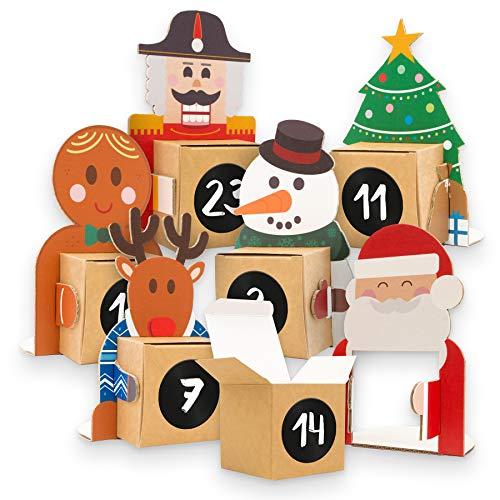 DIY itenga Calendario dell'Avvento da riempire, 24 figurine natalizie in cartone da posizionare con scatola da riempire + adesivi con numeri