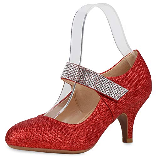 SCARPE VITA Damen Mary Jane Pumps Stiletto Riemchenpumps Glitzer Party Schuhe Spangenpumps Mid Heel Abendschuhe Strass Absatzschuhe 187661 Rot 39
