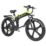 ZPAO 26 Pulgadas Fat Bike 1000W Bicicleta eléctrica Plegable 21 velocidades Bicicleta montaña Batería de la Mejor Marca, Pantalla LCD con USB (Black Green, 48V 16Ah)