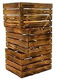 flambé / flamboyant solide Cageot à fruits comme étagère ou en qualité de classique Caisse ca 49 x 42 x 31 cm / Boîtes de pommes Caisse à vin en du Altes Land (Vieux-Pays) en Allemagne - Nature, 3 Stück geflammt