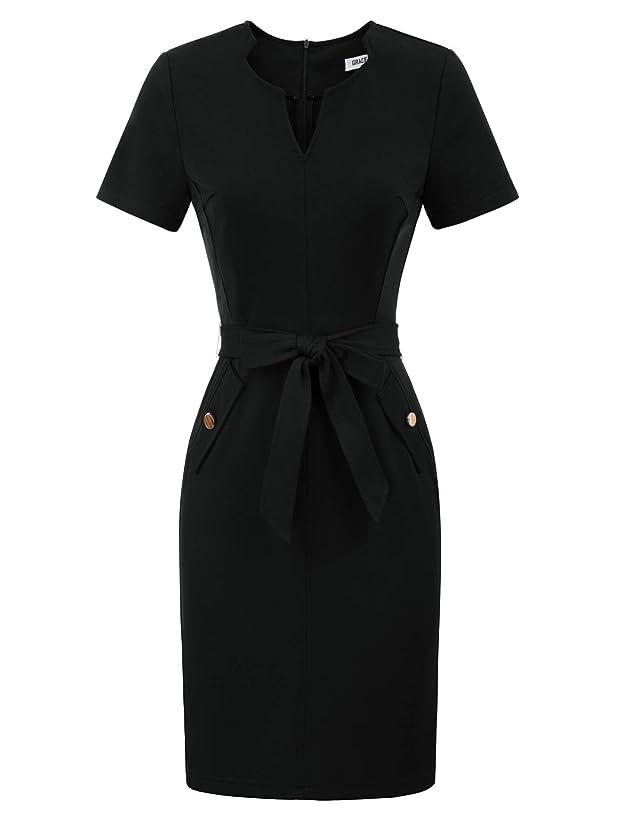 GRACE KARIN Women's Retro Slim Short Sleeve Business Pencil Dress with Belt