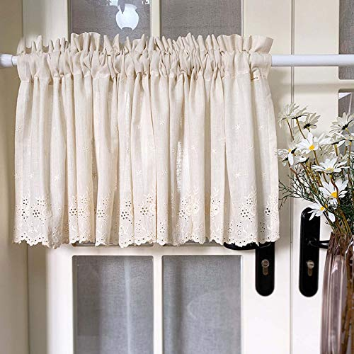 Curtains For Kitchen Short Tier Drapes 100% Cotton Farmhouse Curtains KitchenGood Drape And Good Breathability, For Pastoral Style Window Curtain Cafe Curtains