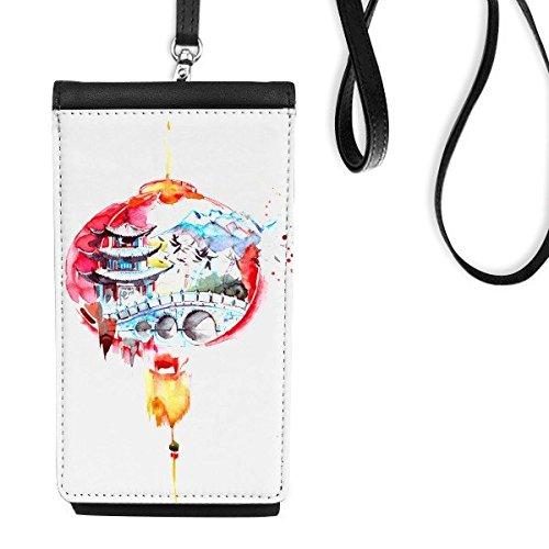 DIYthinker China Chinese Lantaarn Brug Toren Traditionele Cultuur Lijn Tekenen Kunstleer Smartphone Hangende Handtas Zwart Telefoon Portemonnee Gift
