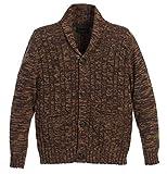 Gioberti Boy's 100% Cotton Knitted Shawl Collar Cardigan Sweater, Brown, Size 14