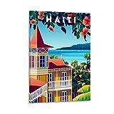 DSXZ Vintage-Reise-Poster, Haiti, Retro-Poster, dekoratives