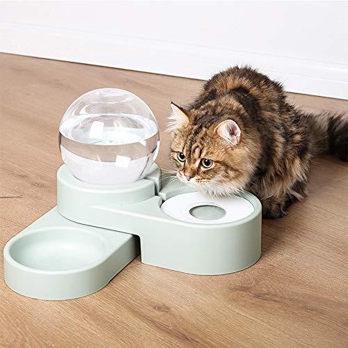 DMZH Smart Futterautomat, 2-In-1 Wasserspender Futterspender Mit 1,8 L Wasserspender Für Hunde Katzen, Drehbare Basis Und Feuchtigkeitsbeständiges Mundbrett,Blau