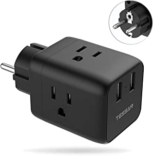 France Germany Schuko Power Plug Adapter, TESSAN Type E/F Travel Adaptor with USB, USA to Europe Russia Spain Poland Iceland European Outlet Adapter