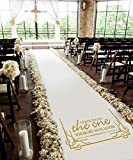Healon 50 x 3 ft Wedding Aisle Runner White Aisle Runner Rug with Pull String for Wedding Ceremony and Party...