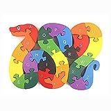 OFKPO Los Niños Rompecabezas De Serpiente De Madera Juguetes Educativos - Puzzle ABC, Serpiente (26 pcs)
