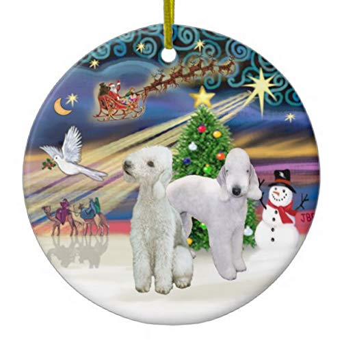 Pattebom Christmas Magic 2 Bedlington Terriers Ceramic Christmas Ornaments Novelty for 2018 Christmas Tree Decorations Idea
