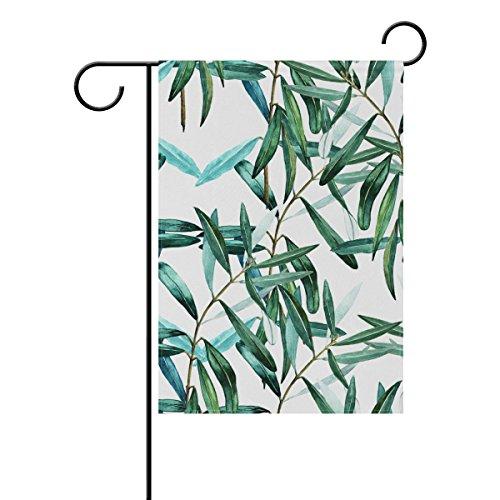 Jstel Home Feuilles aquarelle Tissu Polyester drapeaux de jardin Lovely et résistant aux moisissures personnalisés imperméables de 71,1 x 101,6 cm