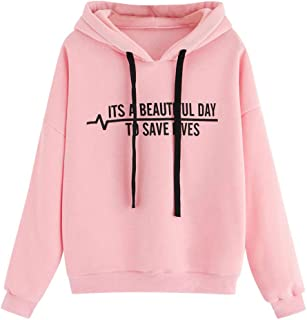 〓COOlCCI〓Women's Novelty Hoodies, Letter Graphic Prints Sweatshirt Teens Cute Casual Hoodie Tops Pullover Tops Sweater