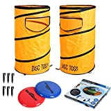 Win SPORTS Folding Disc Toss Game Set Flying Disc Toss Dunk Game Set,Includes 2 Disc Targets with Bean Bag,2 Flying Discs,Carrying Case,Great for Backyard,BBQs,Tailgating