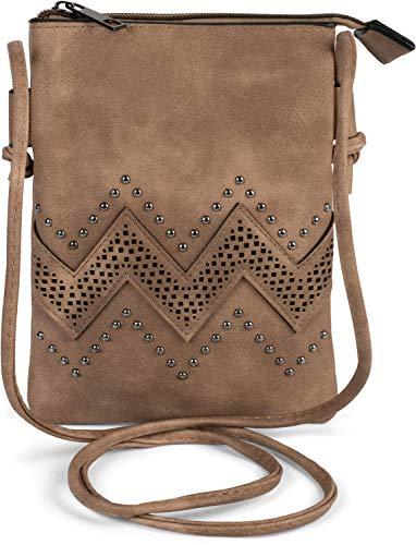 styleBREAKER Mini Bag Umhängetasche mit Zick-Zack Cutout und Nieten, Schultertasche, Handtasche, Tasche, Damen 02012211, Farbe:Braun