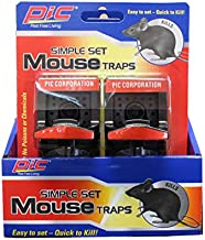 PIC Simple Set Plastic Mouse Traps, 2 Count, 6 Pack - 12 Total Traps