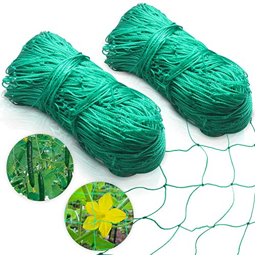 Ponwec HeavyDuty Garden Plant Trellis Netting Flexible Elastic Plant Support Vine Net Climbing Garden Trellis Net for Fruits amp Vegetables Tomato Plants and More2 Pack 6#039 x 165#039Ft4quot Mesh Size
