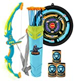 JOYIN Green Bow and Arrow Archery Toy Set with Flashing LED Lights for Kids, Light Up Archery Play Set with Luminous Bow, 9 Suction Cups Arrows, Targets, and Quiver