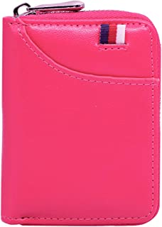 Hibate 12 Cards Slots Leather Credit Card Holder Wallet RFID Blocking for Women Lady Girls Business ID Case Zipper Pocket Purse - Pink