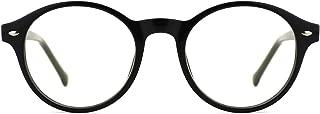 Men Women Classic Round Blue Light Blocking Non-prescription Frosted Eyeglasses Frame