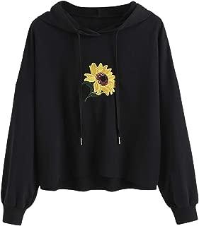 Women's Sequin Flower Embroidered Hoodie Long Sleeve Drawstring Hooded Sweatshirt Pullover
