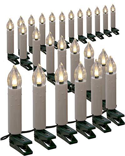 Gartenpirat Lichterkette mit 50 Kerzen LED warmweiß 25m Kerzenlichterkette innen außen