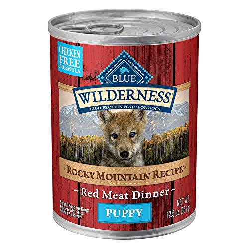 Blue Buffalo Wilderness Rocky Mountain Recipe High Protein, Natural Puppy Wet Dog Food, Red Meat 12.5-oz cans (Pack of 12)