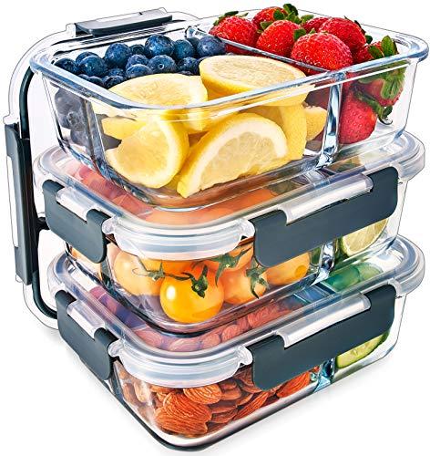 Contenedores De Vidrio Para Comida Con 3 Compartimientos De Tapa Transparente Con Respiraderos Para Vapores - Libres De BPA - Aptos Para Microondas, Congelador, Horno y Lavavajillas - Pack de 3