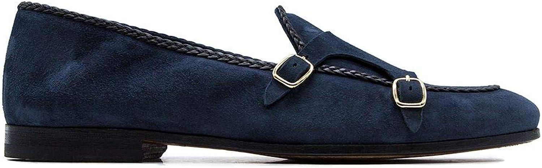 LEQARANT MEN's MEN's MEN's 17823blåPE ROLIO blå läder Monk Strap skor  trendig