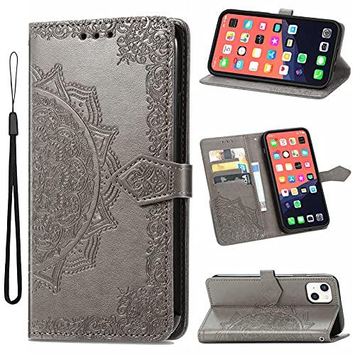 TOPOFU Funda para iPhone 11 Pro MAX 6.5' con Tapa, Magnético Carcasa con Tarjetero y Suporte, Cubierta Plegable Cartera, Libro Caso Móvil Cover Case-Gris